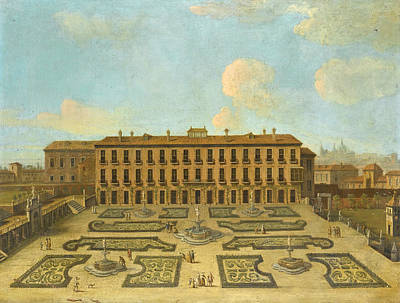View Of A Palace Possibly The Palacio Riofrio In Segovia With Figures Promenading In The Formal Gard Poster by Follower of Francesco Battaglioli