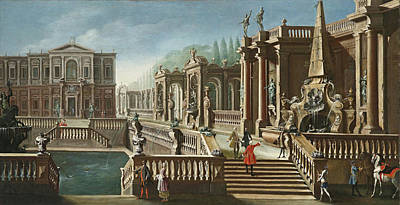 View Of A Villa With Fountains Poster
