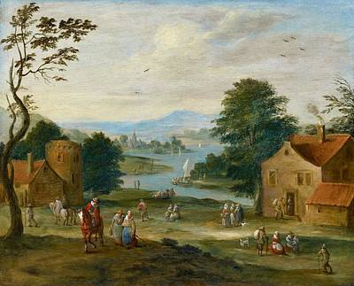 View Of A Village By A River Poster