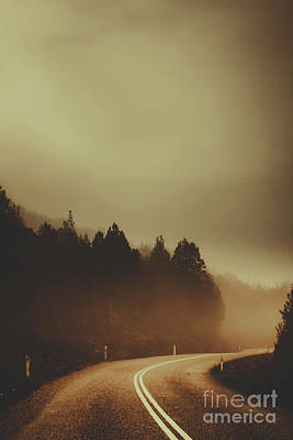 View Of Abandoned Country Road In Foggy Forest Poster