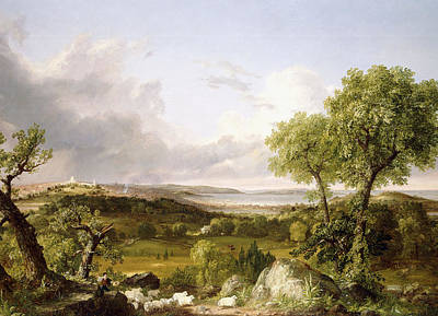View Of Boston Poster by Thomas Cole