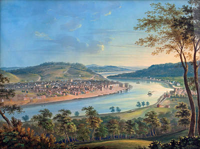 Poster featuring the painting View Of Cincinnati From Covington by John Caspar Wild
