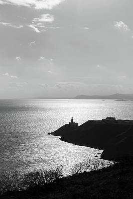 View Of Howth Head With The Baily Lighthouse In Black And White Poster by Semmick Photo