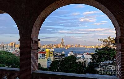 Poster featuring the photograph View Of Kaohsiung City At Sunset Time by Yali Shi
