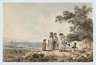 View Of London With St. Paul's In The Distance. A Family Pausing On A Road   Poster by Julius Caesar Ibbetson