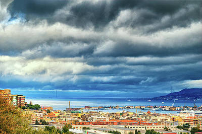 View Of Messina Strait Sicily With Dramatic Sky Poster by Silvia Ganora