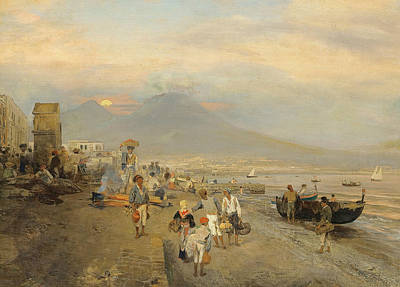 View Of Naples At Sunset Poster