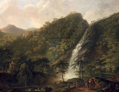 View Of Powerscourt Waterfall Poster by George the Elder Barret