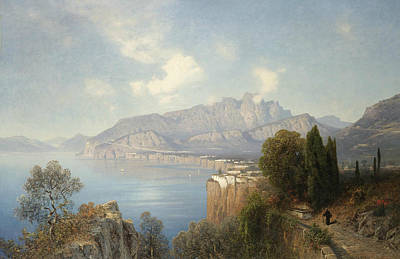 View Of Sorrento Poster by Oswald Achenbach
