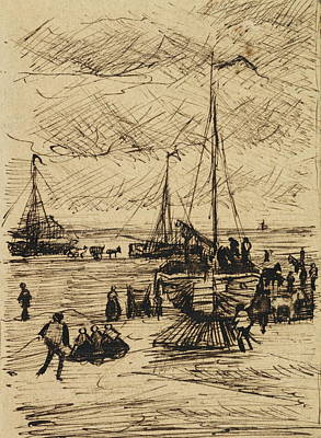View Of The Beach At Scheveningen, 1882 Poster by Vincent Van Gogh