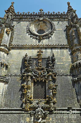 View Of The Chapter House Window In Tomar Poster