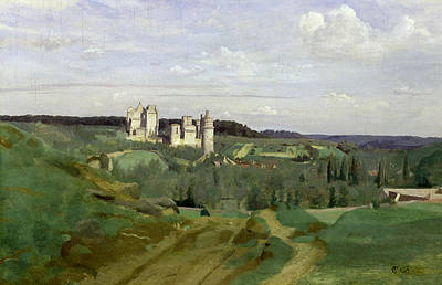 View Of The Chateau De Pierrefonds Poster by Jean Baptiste Camille Corot