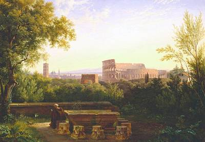 View Of The Colosseum From The Orti Farnesiani Poster by Antoine Felix Boisselier