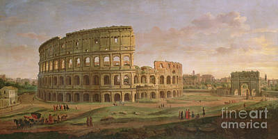 View Of The Colosseum With The Arch Of Constantine Poster