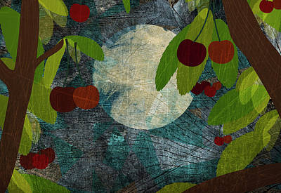 View Of The Moon And Cherries Growing On Trees At Night Poster