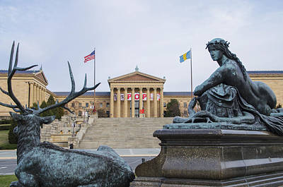 View Of The Museum Of Art In Philadelphia From The Parkway Poster by Bill Cannon