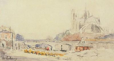 View Of The Pont De La Tournelle And Notre-dame De Paris Poster by Albert Charles Lebourg