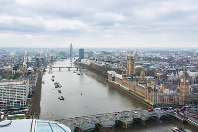 View Of The Thames River And Houses Of Parliament Form The London Eye Poster