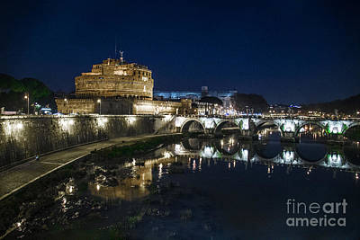 View Of The Tiber, Castle Angel, Angel And Bridge. Poster by Svetlana Batalina