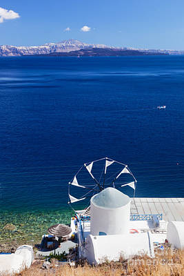 View On Windmill And Aegean Sea From Therasia Island Poster
