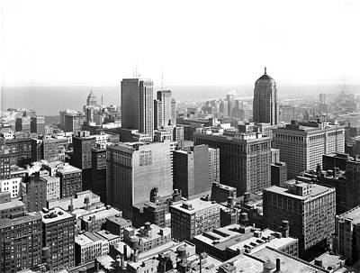 View Over Downtown Chicago Poster by Underwood Archives