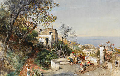 View Over The Bay Of Naples Poster by Oswald Achenbach