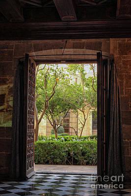 View Through Door At Courtyard Poster