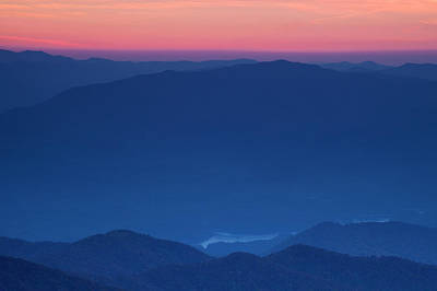 View Towards Fontana Lake At Sunset Poster by Andrew Soundarajan