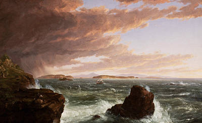 Views Across Frenchman's Bay From Mt Desert Island After A Squall Poster by Thomas Cole