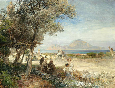 Views Of The Gulf Of Naples Poster by Oswald Achenbach