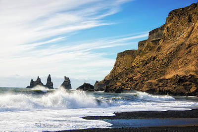 Poster featuring the photograph Vik Reynisdrangar Beach And Ocean Iceland by Matthias Hauser