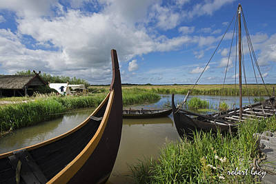 Viking Boats Poster by Robert Lacy