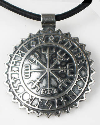 Viking Celtic Vegvisir Compass With Rune Calendar  - Sterling Silver Key Ring Or Pendant Poster
