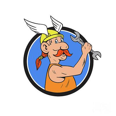 Viking Repairman Spanner Circle Cartoon Poster