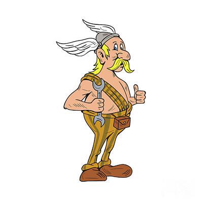 Viking Repairman Spanner Thumbs Up Cartoon Poster