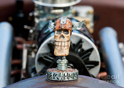 Poster featuring the photograph Viking Skull Hood Ornament by Chris Dutton