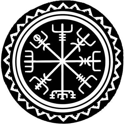 Poster featuring the digital art Viking Vegvisir Compass by Vagabond Folk Art - Virginia Vivier