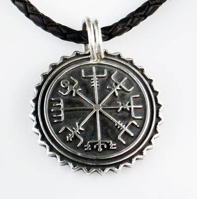 Viking Vegvisir Nautical Compass Protection Sterling Silver Pendant - Necklace - Keyring  Poster
