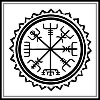 Poster featuring the digital art Viking Vegvisir Protection Compass by Vagabond Folk Art - Virginia Vivier