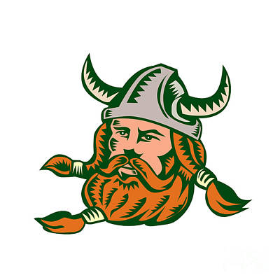 Viking Warrior Head Woodcut Poster