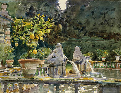 Villa Di Marlia Lucca A Fountain Poster by John Singer Sargent