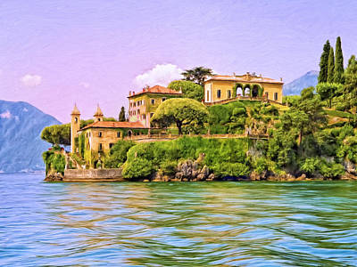 Villa On Lake Como Poster by Dominic Piperata