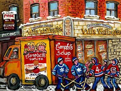 Villa Wellington Verdun Montreal Winter Scene Hockey Art  Campbell Soup Truck Canadian Artist Poster