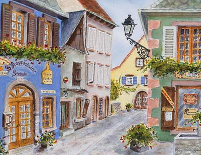 Poster featuring the painting Village In Alsace by Mary Ellen Mueller Legault