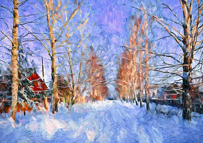 Village In Winter Time Poster