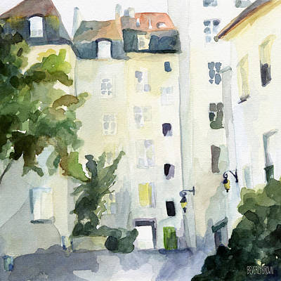 Village Saint Paul Watercolor Painting Of Paris Poster