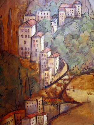 Village View Poster by Katherine Boritzke