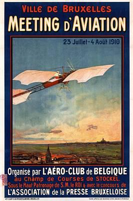 Ville De Bruxelles Meeting D'aviation - Retro Travel Poster - Vintage Poster Poster