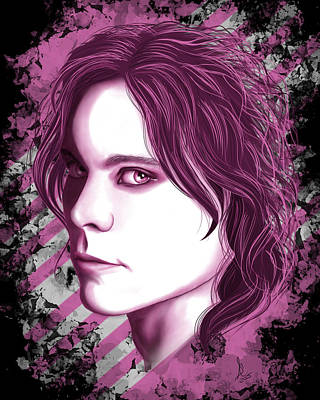 Ville Valo Pink Poster by Stephenie Bronger
