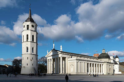 Vilnius Bell Tower And Cathedral Poster